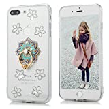 iPhone 7 Plus, iPhone 8 Plus, YOKIRIN Clear Glitter Crystal Floral Series Hybrid Slim Luxury Bling Rhinestone Soft TPU Bumper Frame Hard PC Plastic Diamond Crystal Cover with Mandala Ring Stand