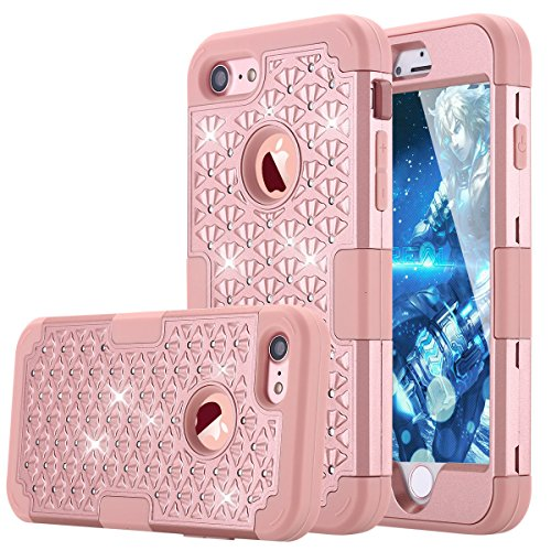 Rhinestone Iphone (iPhone 7 Case, LONTECT Hybrid Heavy Duty Shockproof Diamond Studded Bling Rhinestone Case with Dual Layer [Hard PC+ Soft Silicone] Impact Protection for Apple iPhone 7 - Rose)