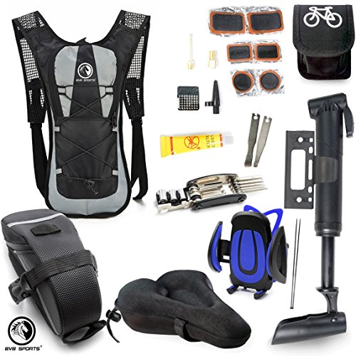 Bike Accessories & Cycling Equipment Set : Bicycle Phone Handlebar Mount (iPhone, Samsung, Etc.), Water Backpack, Bicycles Seats Cushion Cover, Under Seat Pouch, Bikes Repair Tool Kit, Mini Pump by BvBbicycle (Image #1)