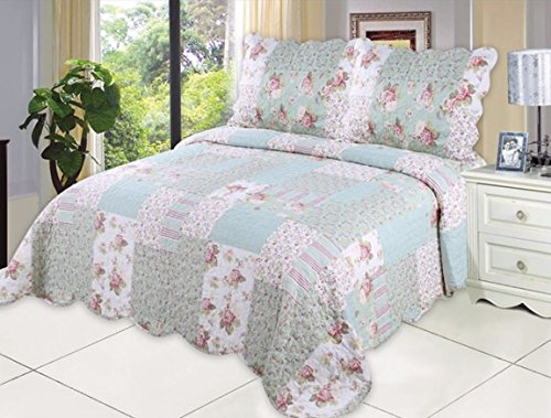 English Roses Quilt set, Cotton rich