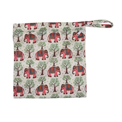Veroda bebé Protable Pañal reutilizable lavable mojado y seco impermeable con cremallera bolsa de pañales con diseño de elefantes