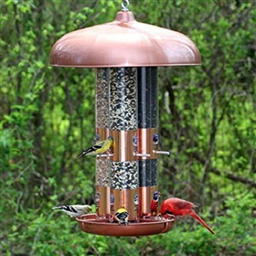 CHOOSEandBUY Copper Finish Triple Tube Bird Feeder New Good Elegant Classic Sturdy