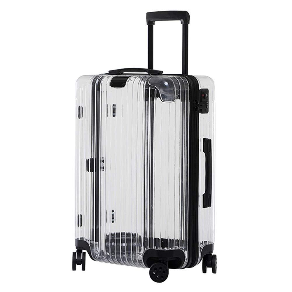 トロリーケース、ファッション透明スーツケース、24インチサイズローリング荷物バッグ、ユニバーサルホイール、収納ボックス B011WRR7K0