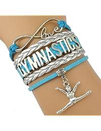 Divine Kids Gymnastics Leather and Suede Charm Bracelet