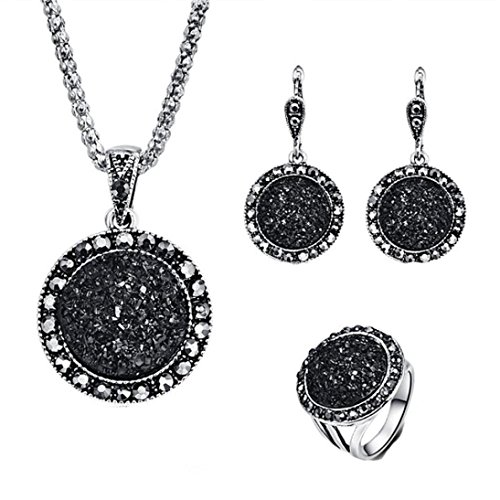 - Celendi_ Jewelry Set Fashion Black Circular Stone Ring Necklace Earring Ring for Women