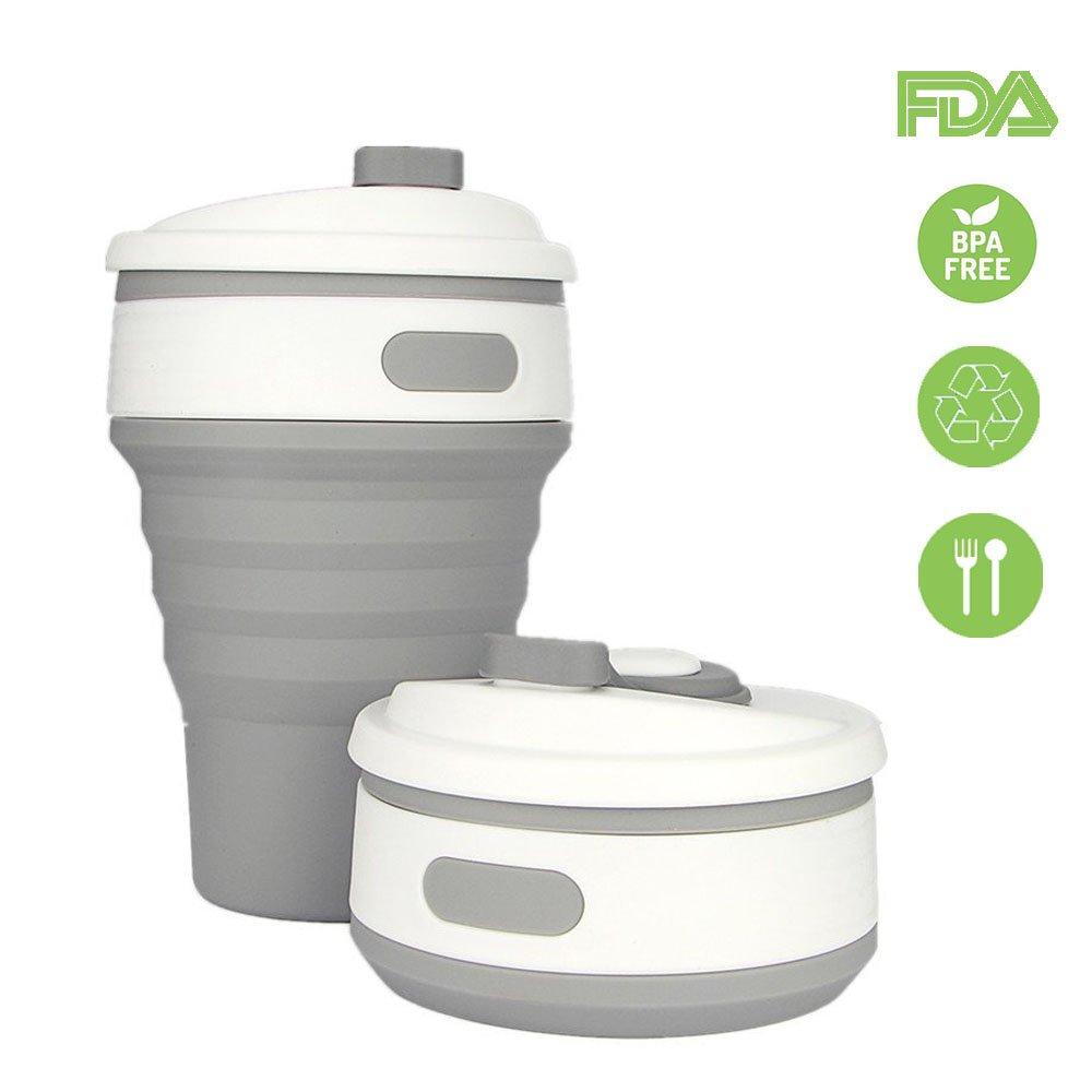 Taza de agua a prueba de fugas plegable de silicona de grado alimenticio libre de BPA para acampar al aire libre y Picnic rosa Cukcic