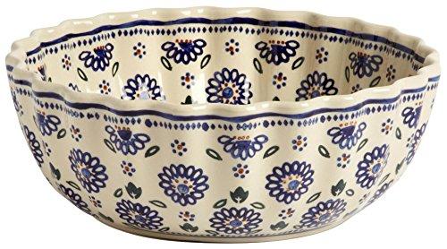 "Polish Pottery Jumbo Fluted Ceramic Serving Bowl, 10""L x 10""W x 4""H (Geometric Blue Flowers)"