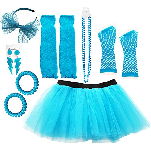 Dreamdanceworks 80s Costumes for Women neon Clothes Accessories Turquoise Tutu(Neon Blue with Headband)]()