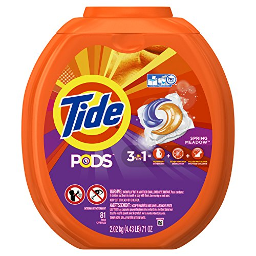 Tide Pods 3 In 1 He Turbo Laundry Detergent Pacs  Spring Meadow Scent  81 Count Tub   Packaging May Vary
