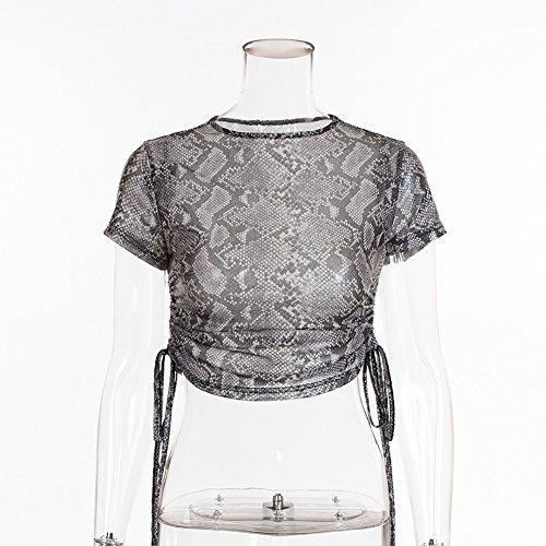 Maglietta Tumblr Bluse Tops Moda Donne Grigio Pelle Stampa di Chic Collo con Sottile Corte Tee T Shirt Camicie Serpente Onlyoustyle Crop Coulisse Maniche Estivo Rotondo wqvxR1