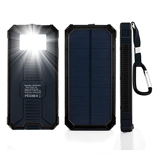 Solar Power Bank 15000mah Portable Dual USB Ports Solar Cell Phone Charger External Backup Bettery Pack with 6 LED Flashlight for iPhone iPad Samsung and More (Black)