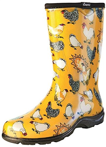 Sloggers Women's Waterproof Rain and Garden Boot with Comfort Insole, Chickens Daffodil Yellow, Size 9, Style 5016CDY09 ()