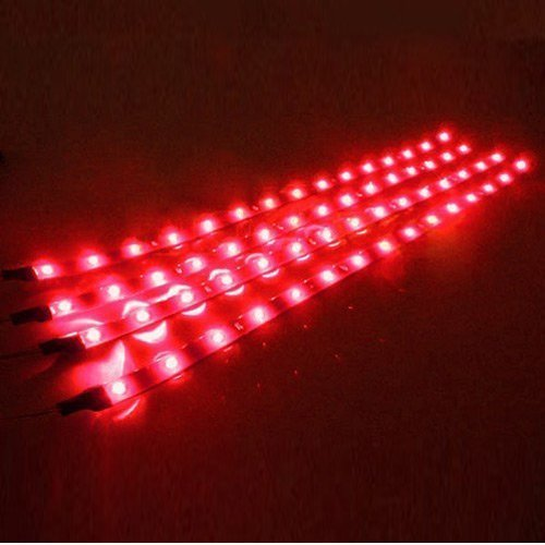 Led strips for cars amazon cutequeen 30cm led car flexible waterproof light strip red pack of 4 aloadofball Gallery