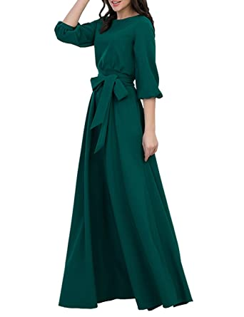 0965fbb3e4c Simple Flavor Women s Vintage 3 4 Lantern Sleeve Maxi Dress with  Pockets(Green