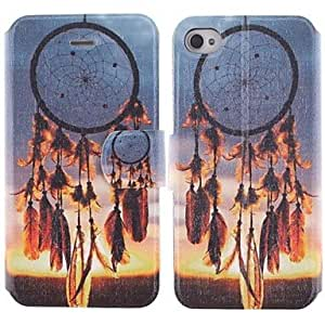 JAJAY- Beautiful Dreamcatcher Pattern PU Leather Full Body Case with Stand and Card Slot for iPhone 4/4S