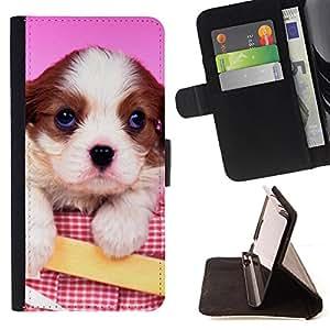 - Cute Pink Puppy Dog Baby - Estilo PU billetera de cuero del soporte del tir???¡¯????n [solapa de cierre] Cubierta- For Samsung Galaxy S6 EDGE £¨ Devil Case £©