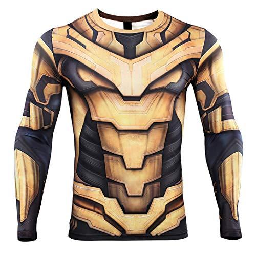 HIMIC E77C Hot Movie Super Hero Quick-Drying ElasticT-Shirt Costume (Medium,Thanos Long Sleeve 1)]()