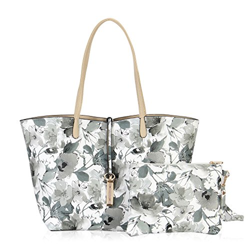 Hynes Victory Ladies 2 in 1 Reversible Tote Bag with Pouch (Floral & Beige)