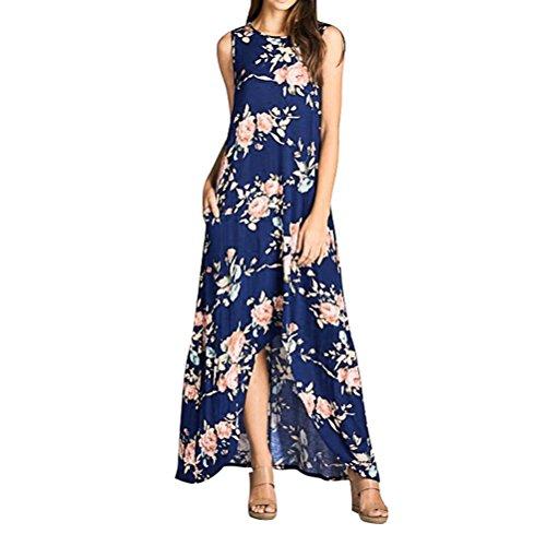 WLLW Women Sleeveless Round Neck Floral Print Asymmetric