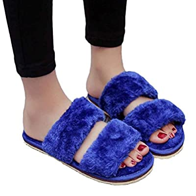 Amiley Women Home Sandals Slide On Slipper Indoor Flip-flops Plush Shoes