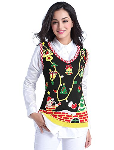 v28 Ugly Christmas Sweater, Women Girl Cute Vintage Knit Xmas Pulli Sweater Vest (M, ()
