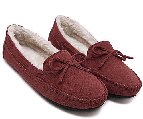 Maybest Femmes Faible Fausse Fourrure Pantoufle Mocassin Neige Bottes Chaussures Plates A1