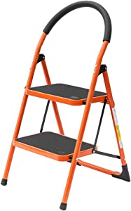 LUISLADDERS 2 Step Stool Folding Lightweight Step Ladder Steel Ladder with Hand-Grip and Non-Slip Wide Pedal 330lbs EN131