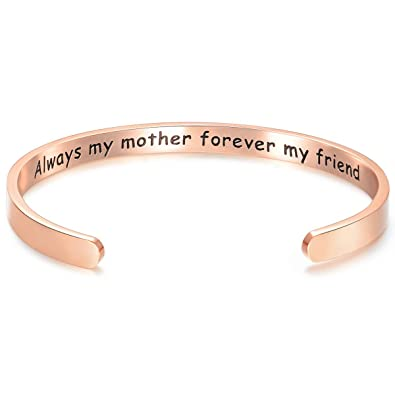 27052933e84 Bestwick Mom Birthday Gifts Open Bangle Bracelets for Women, Bday Gifts Mom Bracelet  Engraved Always
