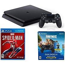 PlayStation Spider-Man Fortnite Epic Bonus Bundle: Marvel's Spider-Man, Fortnite Royale Bomber Outfit,500 V-Bucks, PlayStation 4 Slim 1TB Console - Jet Black