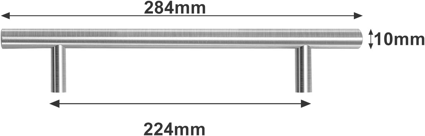 Hengda 20 St/ück M/öbelgriffe Lochabstand 256mm Schrankgriffe Edelstahl Geb/ürstet Schubladengriffe Stangengriff Griffe f/ür K/üchenschr/änke Rohrbreite 12mmx12mm T/ürgriffe K/üche 256mm Gesamtl/änge 316mm