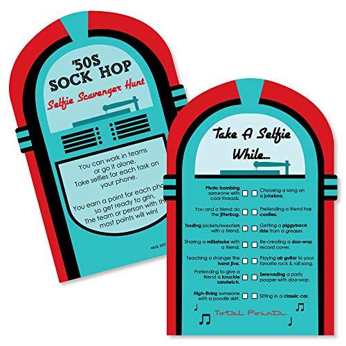 50's Sock Hop - Selfie Scavenger Hunt - 1950s Rock N Roll Party Game - Set of 12 ()