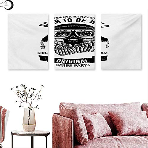 Modern Wall hangings Born to be Wild Quote with A Cool Dog Motorcycle Helmet Puppy Rider Animal Graphic Triptych Wall Art Black White W 24