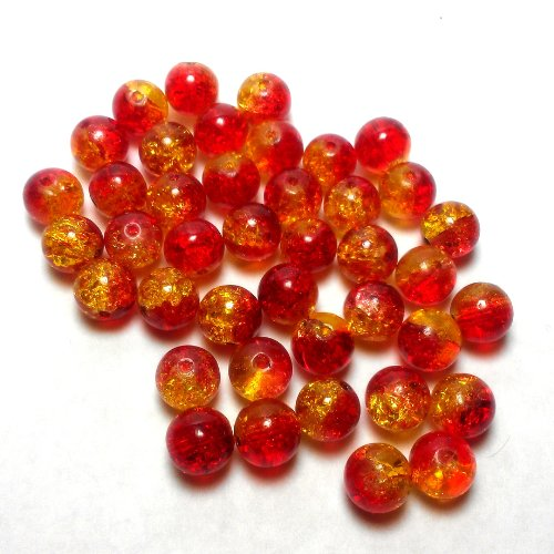 - Moxx 2-tone 8mm Round Crackle Lampwork Glass Beads Red/yellow