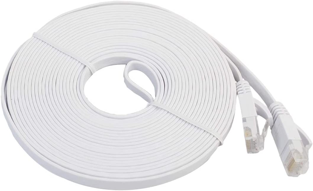10m CAT6 Ultra-Thin Flat Ethernet Network LAN Cable Color : White 550MHz Patch Lead RJ45 Black KANEED Ethernet Cable Supports Cat6//5e//5