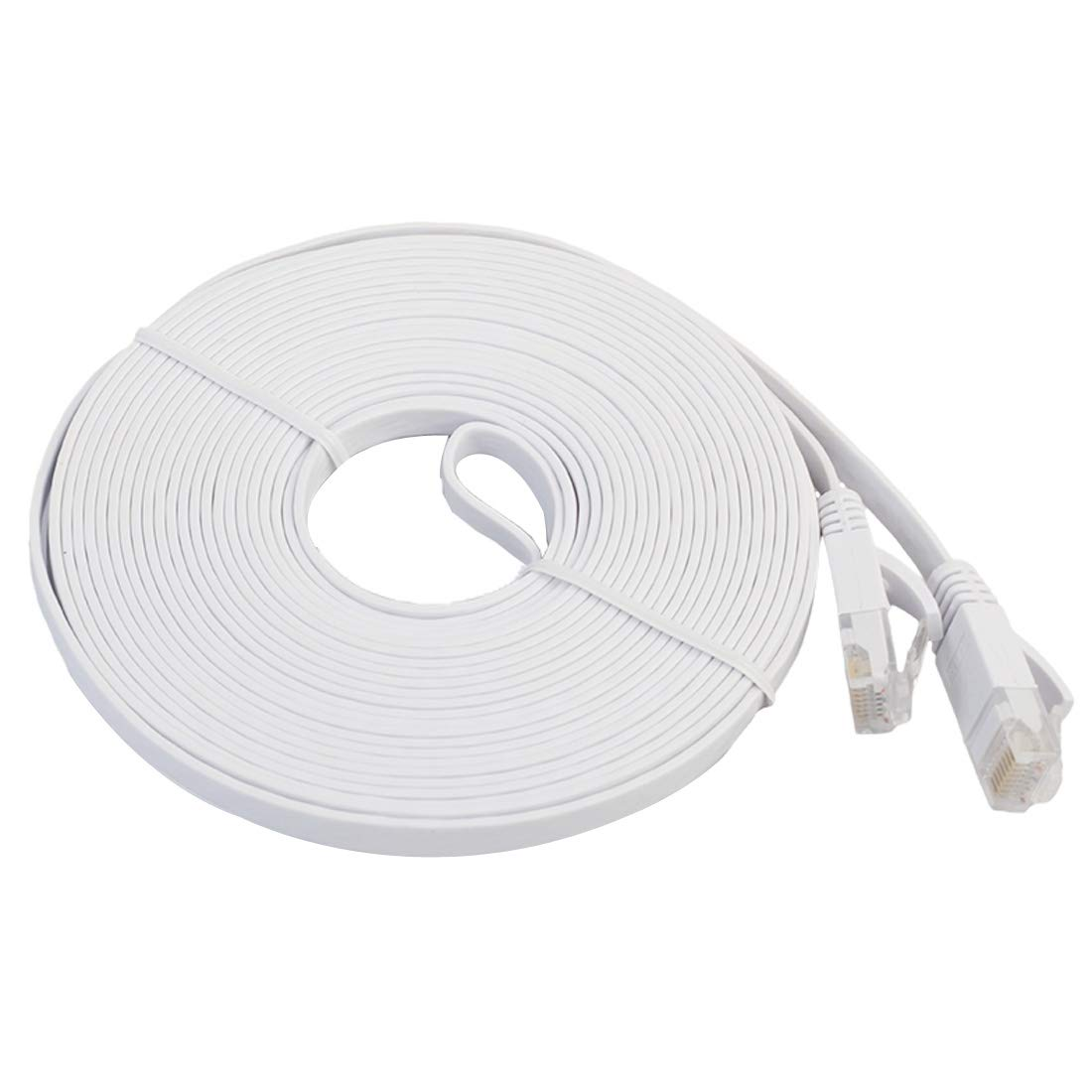 JINYANG 10m CAT6 Ultra-Thin Flat Ethernet Network LAN Cable Patch Lead RJ45 Color : White Black