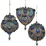 """Kurt Adler 3-3.5"""" Aqua Satin Fabric with Gold, Purple and Green Glitters Tornasol Beads with Rayon Cord Hanging Ornaments: Ball, Dome and Heart Set of 3"""