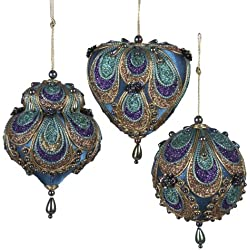 Kurt Adler Satin Fabric with Gold, Purple and Green Glitter Ornament Set