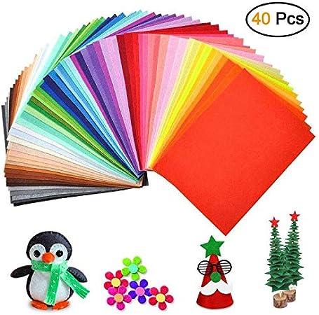 40 pcs//lot Tissu Feutre feutrine Coloré Non Tissé Polyester  BRICOLAGE patchwork