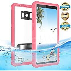Effun Samsung Galaxy S8 Waterproof Case, IP68 Certified Waterproof Underwater Dustproof Snowproof Shockproof Case with Kick Stand, PH Test Paper and Floating Strap for Samsung S8 (5.8inch) Pink