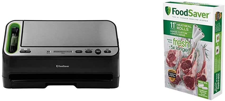 Foodsaver V4400 2-in-1 Vacuum Sealer Machine with Automatic Bag Detection and Starter Kit, Black and Silver & 11