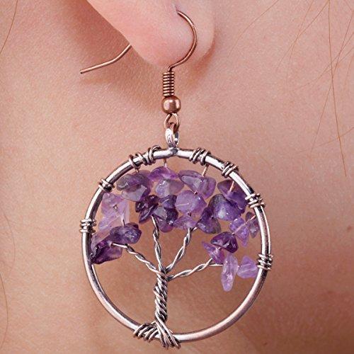 SUNYIK Purple Amethst Tree of Life Dangle Earrings
