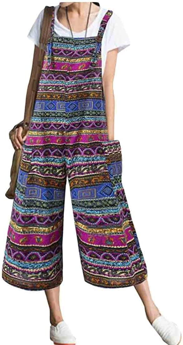 CRYYU Women Relaxed Fit Plus Size Big Pockets Floral Printing Cotton Linen Jumpsuits Overalls