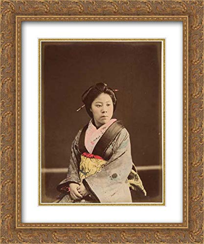Photographic Art - 20x24 Gold Ornate Frame and Double Matted Museum Art Print - Shin, A Well-Known Tea House Girl in Yokohama
