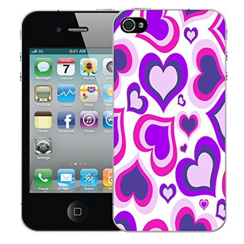 Mobile Case Mate iPhone 4s Silicone Coque couverture case cover Pare-chocs + STYLET - Purple Multi Heart pattern (SILICON)