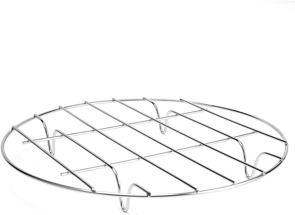 Bioexcel Round Stainless Steel Steamer Rack - Cooling Rack for Baking, Cooking, Steaming, Lifting Food in Pots, Air Fryer, Pressure Cooker - Circular Canning Rack and Baking Rack for Oven Use