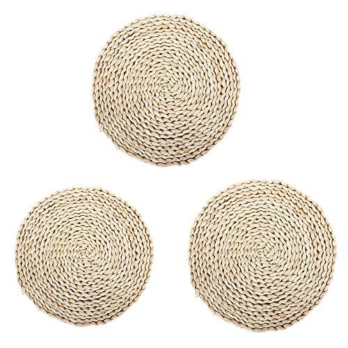 Sodial - Mantel individual de ratan trenzado circular trenzado natural, adecuado para la decoracion de la mesa de estilo Country