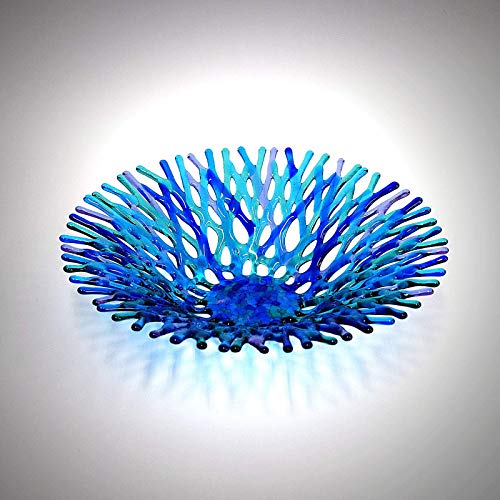 Fan Top Lacy Glass Art Sea Coral Fruit Bowl in Turquoise Blue Lavender and Aqua Green