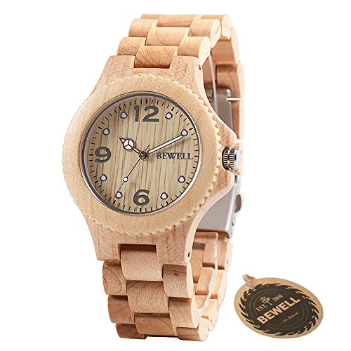 Bewell Women Men Natural Wooden Watch, Fashion Analog Quartz Unisex Wood Wrist Watch with Luminous Pointer Arabic Numerals Dial Japanese Quartz Movement Casual Wood Watch Ladies Bracelet Watch W038A
