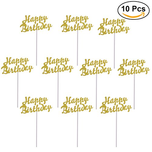opper Gold Cupcake Toppers Happy Birthday Cake Decor for Party (Birthday Cupcake Toppers)