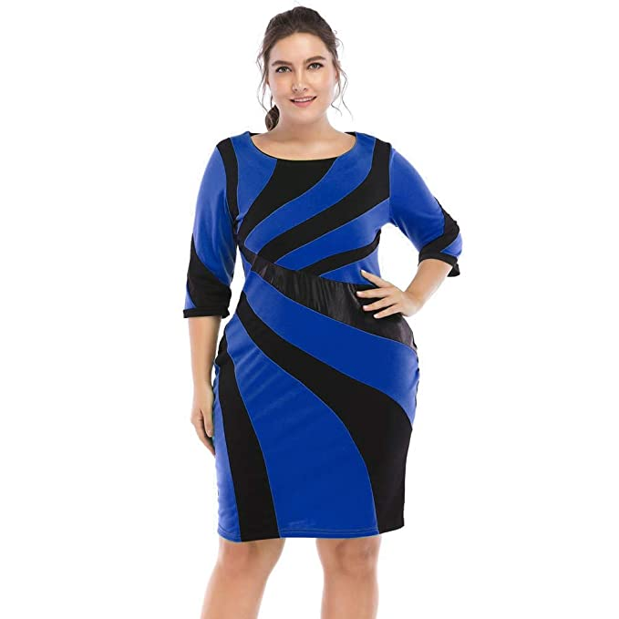 8d6e630ef79 RoseGal Women Dresses Plus Size Striped Detail Bodycon Office Lady Dress   Amazon.co.uk  Clothing